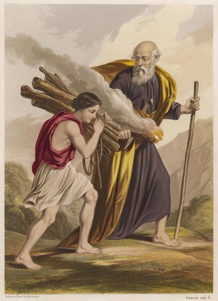 Abraham goes up the mountain with his son Isaac, planning to sacrifice him to God