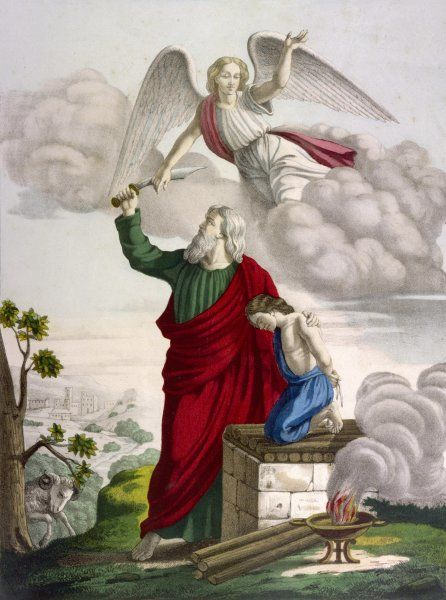 Abraham is about to sacrifice his son Isaac when an angel arrives, just in time, to say that God will be just as happy to have that ram, caught there in a thicket, in his place