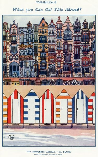 This illustration shows a row of beach huts next to the sea, a little way in front of the larger huts, and the tall houses and hotels that make up the sea front. The scenery is colourful, varied and typifies the seaside towns of France