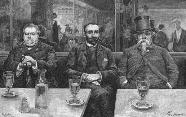 Three absinthe drinkers sit quietly absorbed in their own thoughts in a Paris cafe, specifically the Caf頤u Helder. 1889