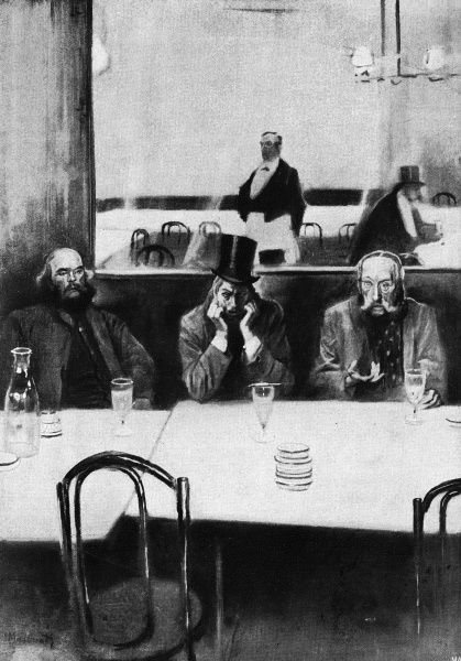 Absinthe drinkers (Verlaine and his companions) in a Paris cafe. Date: 1907