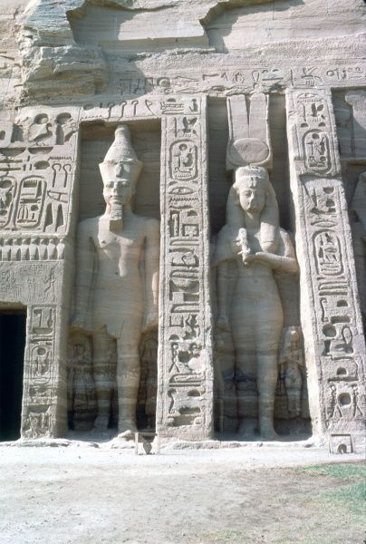 Abu Simbel, entrance, Temple of Nefertaril, full-length close-up of figures. Photograph by Lionel Coates