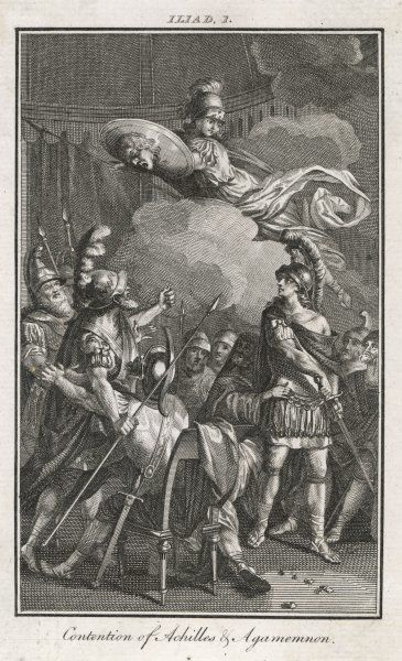 The dispute between ACHILLES and AGAMEMNON is refereed by Athena