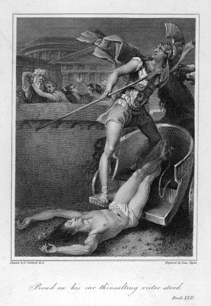 Achilles drags Hector's corpse around the walls of Troy