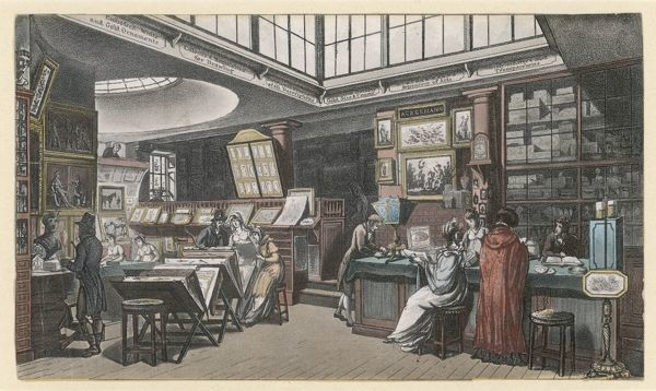 Ackermann's Repository of Arts, 101 The Strand: a group of ladies and gentlemen admire prints and sculpture