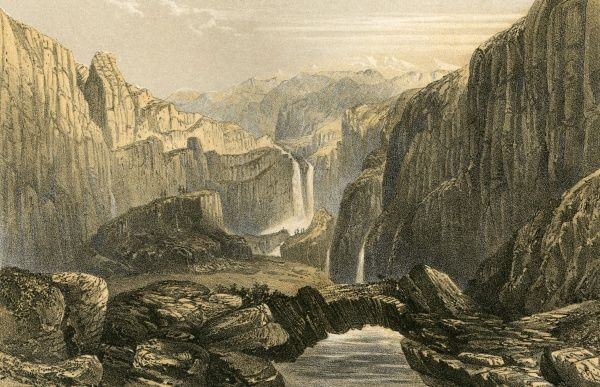 River and rocks at Ghilder-a- ghar-a-ghi in the Actou mountains of Chinese Tartary. Date: 1858