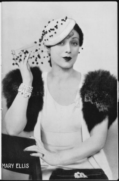 "MARY ELLIS American-born stage and film actress. Found success in London in the 1930s in plays such as Kern/Hammerstein's ""Music in the Air"""