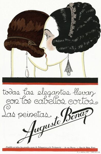 Advertisement for Auguste Bonaz decorative hair combs, worn here on short bobbed hair. 1924