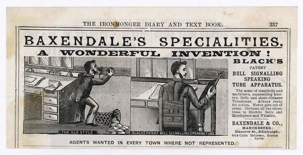 Baxendale's specialitites: 'Black's patent Bell signalling speaking tube apparatus&#39