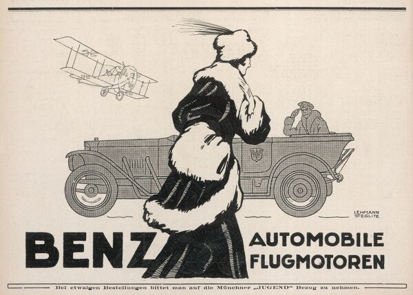 Advertisement for BENZ automobiles and aircraft, during World War One