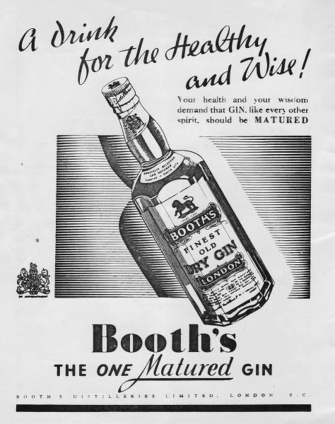 Advert for Booths Gin, 1937, London Date: 1937