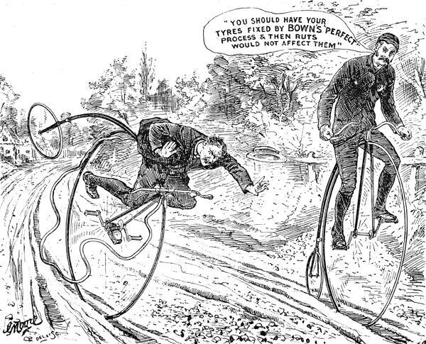 Advertisement for the 'Perfect' Process of securing Rubber tyres to rims of bicycles and carriages, as offered by W. Bown of Summer Lane, Birmingham. The bicycles shown in the image are 'Penny Farthing' or 'Ordinary' bicycles
