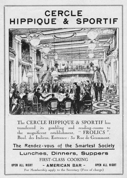 Advert for Cercle Hippique & Sportif, home of the Frolics Cabaret, 1922, Paris Date: 1922