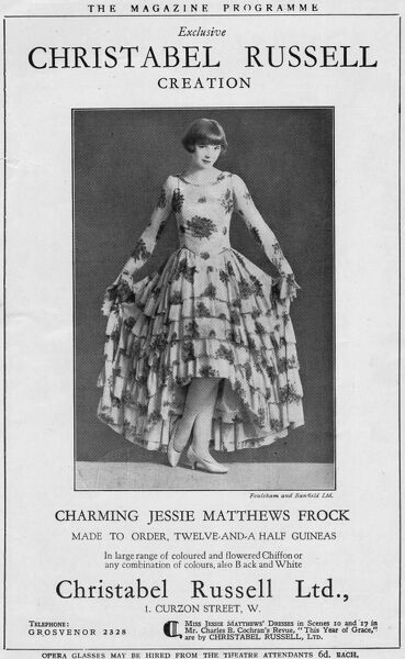 Advert for Christabel Russell Ltd, 1928 featuring Jessie Matthews, London Date: 1928