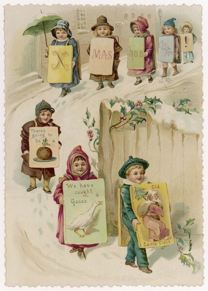 Children carrying boards like 'sandwichmen' advertise the coming of Christmas