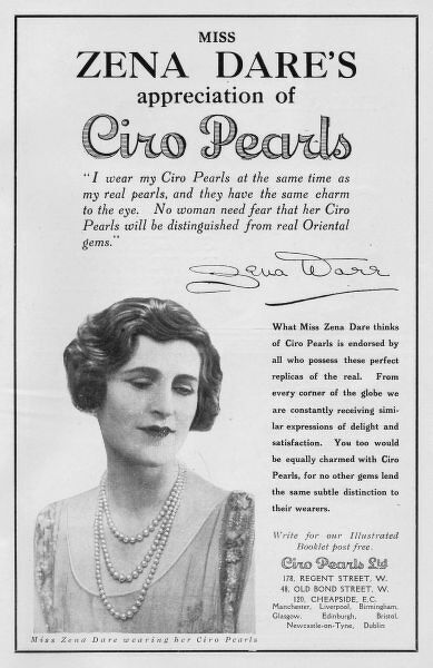 Advert for Ciro pearls, 1926 featuring Zena Dare, London Date: 1926