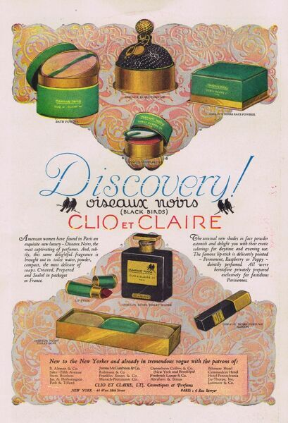 Advert for Clio and Claire's Oiseaux Noirs perfume and tioletries, 1927, USA Date: 1927