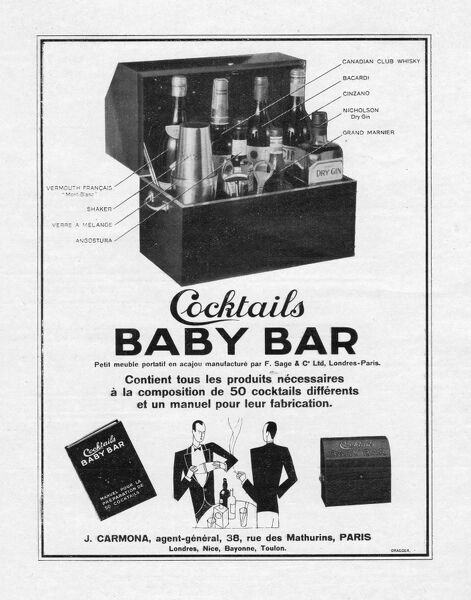 Advert for Cocktails Baby Bar, 1928, Paris Date: 1928
