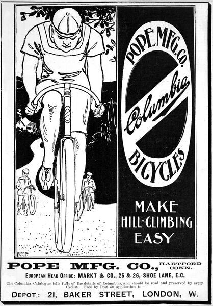 Advertisment for the Pope MFG. Company's Columbia Bicycles, 1897. Date: 1897