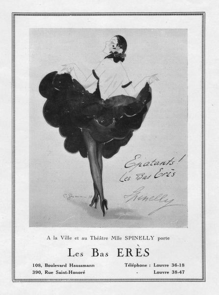 Advert for costume for Spinelly by Les Bas Eres, 1922, Paris (sketch by Charles Gesmar) Date: 1922