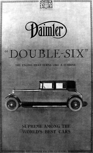 Advertisement for the Daimler 'Double-Six' car, 'the engine that turns like a turbine - supreme among the world's best cars&#39