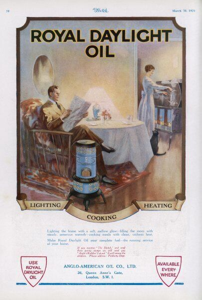 Advertisement for Royal Daylight Oil for lighting, cooking and heating