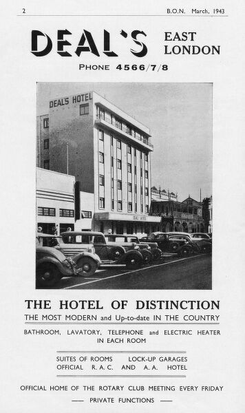 Advertisement for Deal's, East London, South Africa - the hotel of distinction with bathroom, lavatory, telephone and electric heater in each room