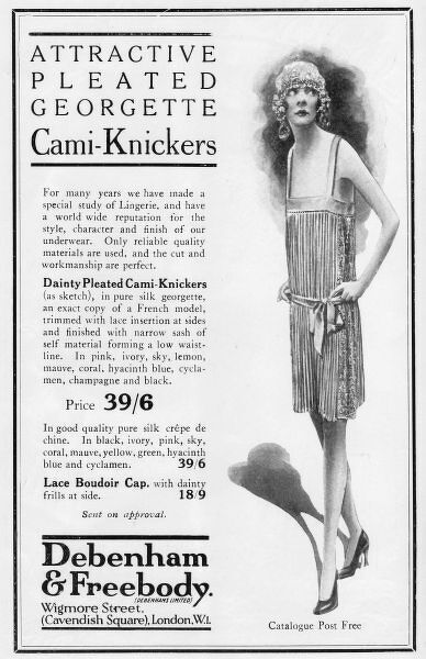 Advert for Debenham & Freebody attractive pleated georgette Cami-knickers, 1926, London Date: 1926