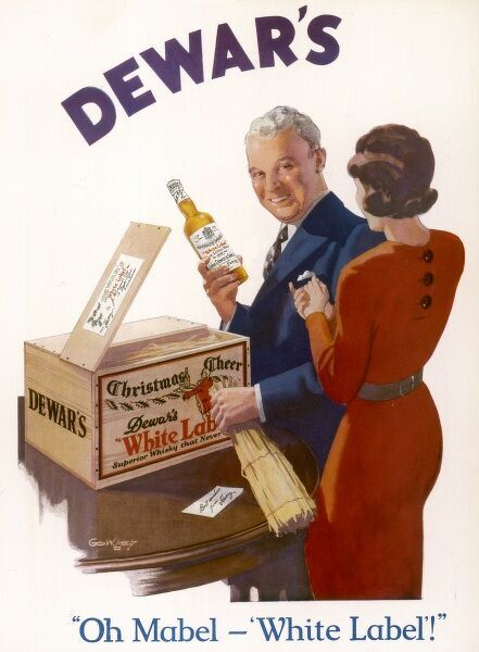 An advertisement for Dewar's White Label whisky
