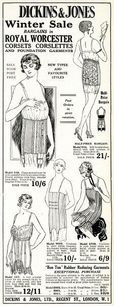 Winter sales bargains in Royal Worcesters corsets corslettes and foundation garments. Date: 1926