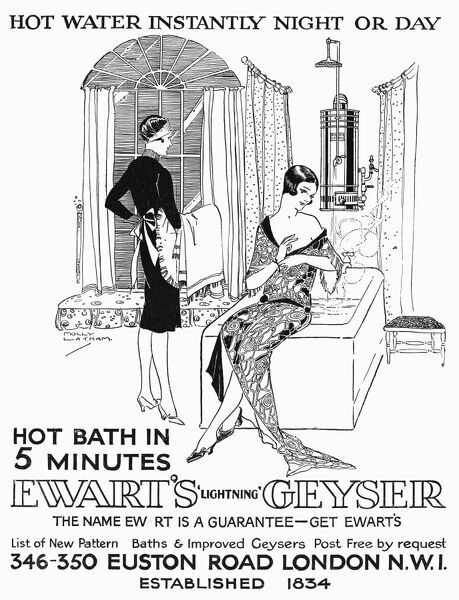 Hot water instantly night or day, maid bringing clean towels to her mistress, who is sitting at the edge of the bath. Date: 1927