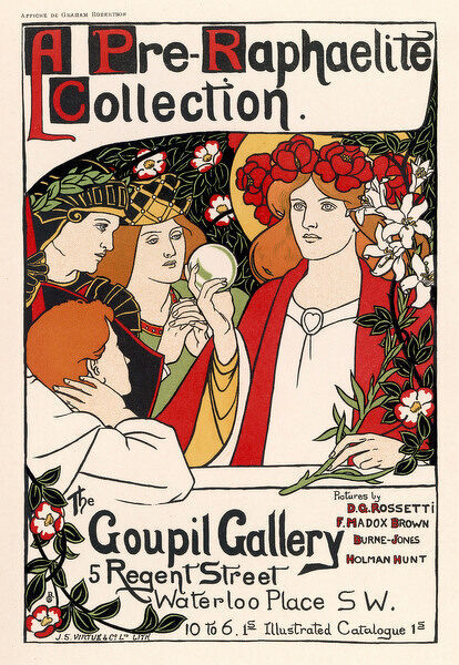 Show of Pre-Raphaelite art at the Goupil Gallery, London : but the style of the poster is post-pre-Raphaelite even while paying homage to the pre- Raphaelite subject-matter