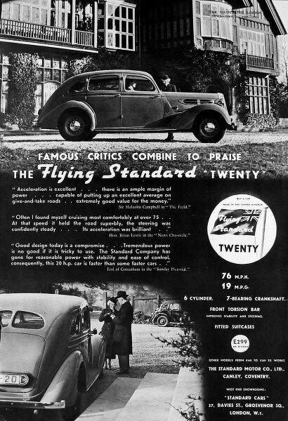 Full page photographic advertisement for the Flying Standard 'Twenty' car, showing two photos of the car in front of large houses, a typically aspirational car advert of the 1930's period