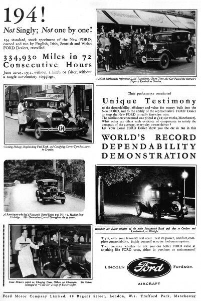 Full page advertisement for Ford cars with photo story of the 334,930 miles driven in Ford cars over 72 consecutive hours