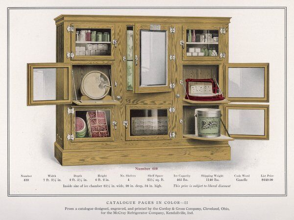 An early refrigerator by McCray of Kendalville, Indiana, USA