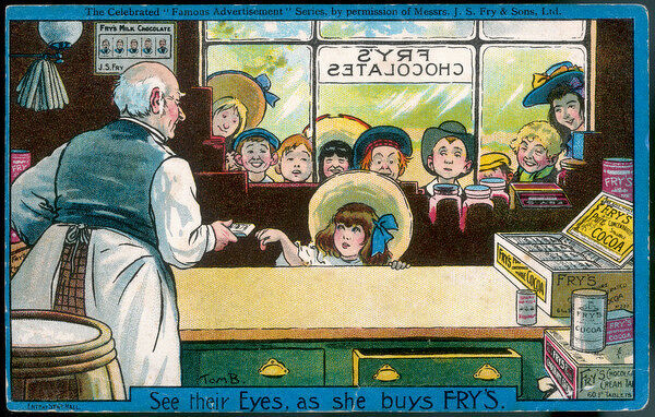 Nine children watch through a sweetshop window as a lucky little girl buys herself a bar of Fry's chocolate