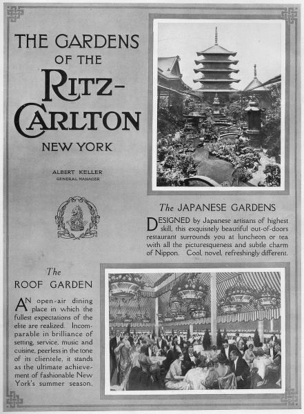 Advert for the Gardens of the Ritz-Carlton Hotel, New York, 1919 Date: 1919