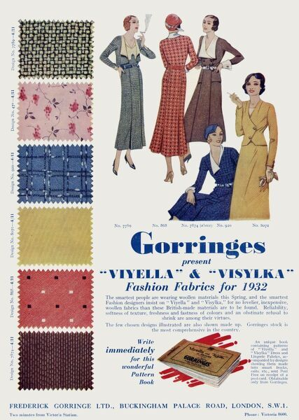 Advertisement for Gorringes woolen swatch fabric pattern book.  1932