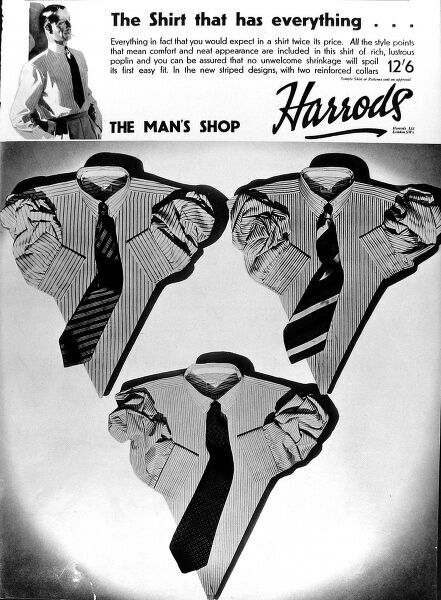 Advertisement for the menswear department of Harrods, Knightsbridge, London, 1935