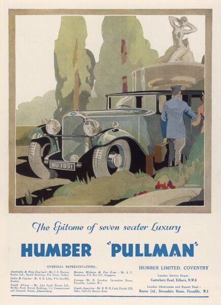 Advertisement for the Humber Pullman motor car showing a chauffeur opening the car door for its occupant in rather smart looking grounds