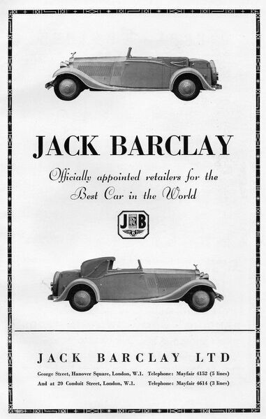 Advert for Jack Barclay, car retailers, 1936, London Date: 1936