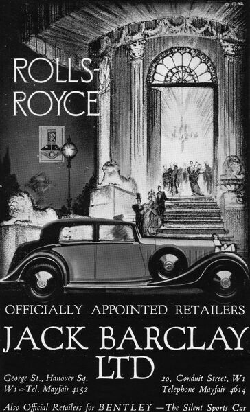 Advert for Jack Barclay & Rolls-Royce, 1936, London Date: 1936