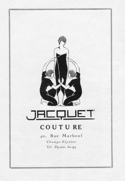 Advert for Jacquet Couture, 1920s, Paris Date: 1920s