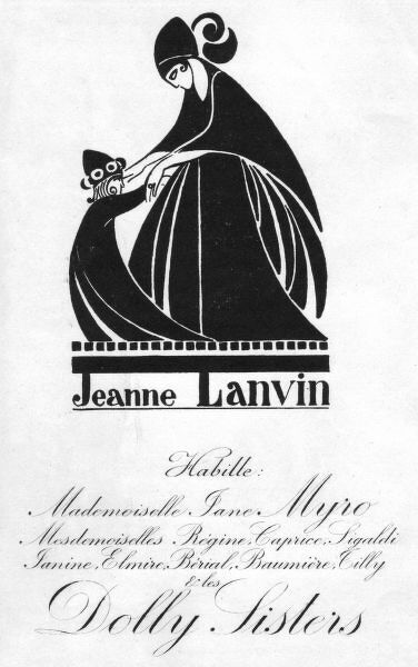Advert for Jeanne Lanvin and the Dolly Sisters, Paris, 1920s 1920s