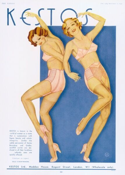 Advertisement for Kestos Backless Brassieres and girdles