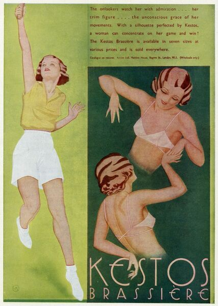 Advert for a brassiere for sport activities. Kestos 'A women can concertrate on her game and win' Date: 1934