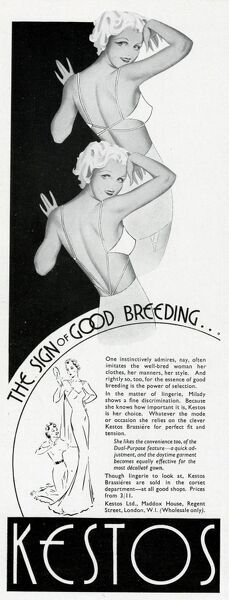 The sign of good breeding... Advertisement for the Kestos backless brassiere. Date: 1937