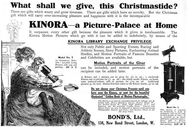 An advertisement for a Kinora picture viewer, for taking family portraits. Date: 1911