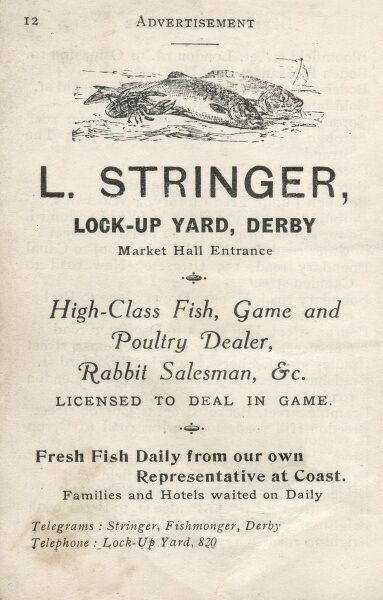Advertisement for L Stringer, Lock-Up Yard, Derby, Market Hall Entrance, Fish, Game and Poultry Dealer, Rabbit Salesman, Fresh Fish Daily