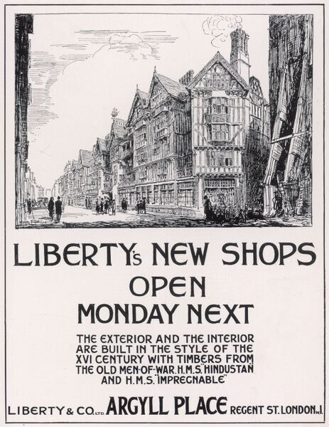 An advertisement for Liberty's new shops about to open in Argyll Place, off Regent Street, London